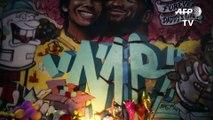 Mural dedicated to Kobe and Gianna Bryant in LA