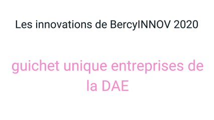 Les innovations BercyINNOV  2020