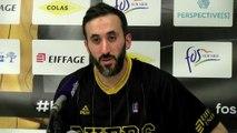 Mohamed Hachad après la défaite de Fos Provence Basket contre Antibes