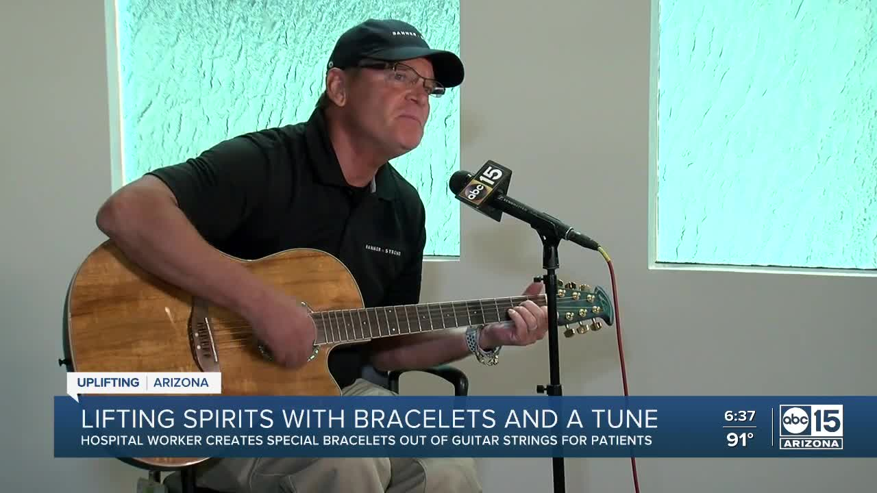 Sun City transporter makes dozens of bracelets from guitar strings for patients