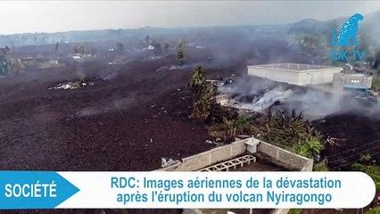 RDC  images aériennes de la dévastation des terres après l'éruption du Volcan Nyiragongo
