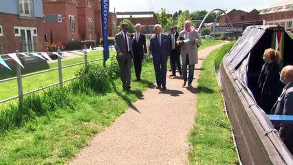 Prince Charles embarks on barge ride on a Coventry canal