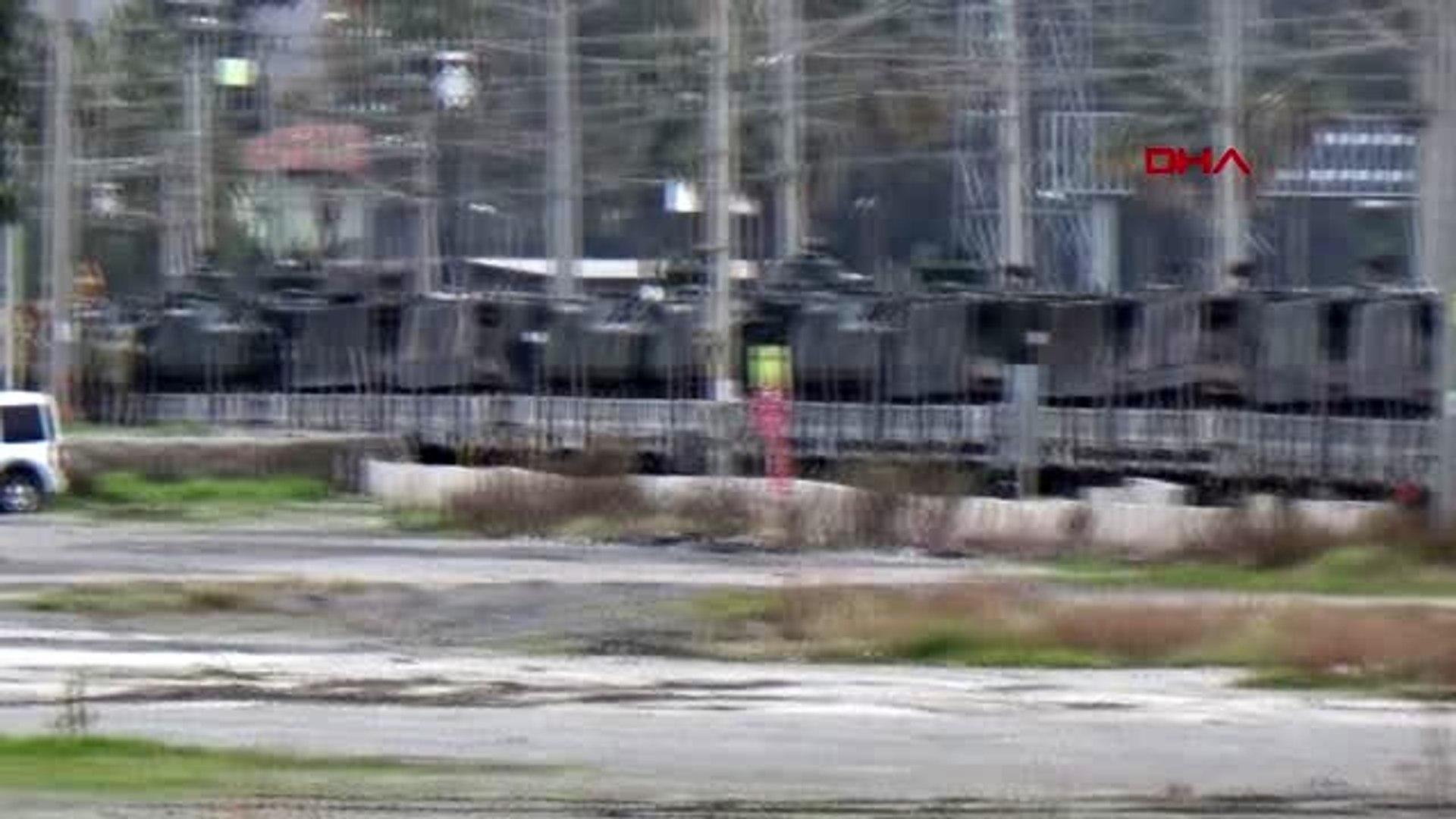 Hatay iskenderun'a trenle gelen askeri araçlar, sınıra gönderildi