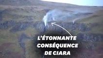 La tempête Ciara a inversé le sens de cette cascade en Écosse
