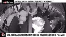 Scuolabus si ribalta dopo terribile incidente: le immagini da dentro il pullman   Notizie.it