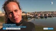 Portugal : la surfeuse française Justine Dupont défie les vagues géantes de Nazaré