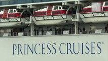 Passengers on deck of cruise ship quarantined due to Coronavirus in Japan