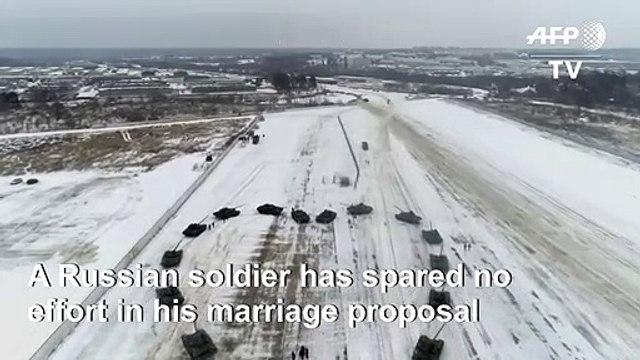 From Russia with love: soldier uses tanks to propose to his girlfriend