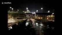 Dramatic footage shows Welsh river bursting banks after Storm Dennis rain