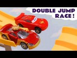 Hot Wheels Jump Racing with Disney Pixar Cars 3 Lightning McQueen vs Funny Funlings with PJ Masks and Toy Story 4 Duke Caboom in this Family Friendly Full Episode English
