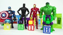 Learn Colors and Letters with Spiderman and Avengers Toys and Tsum Tsums and Wooden Alphabet Blocks-