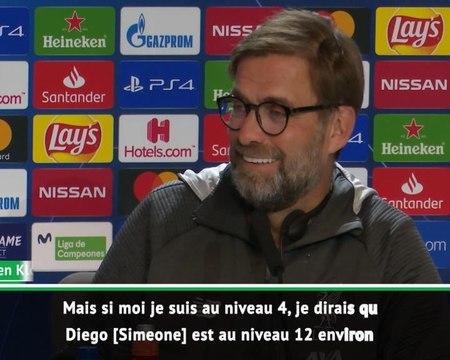 """8es - Klopp : """"Si je suis niveau 4 en termes d'émotion, Simeone est au niveau 12 !"""""""