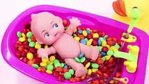 Learn Colors MandMs Chocolate Baby Doll Triple Baby Doll Bath Time and Play Doh Ice Cream