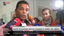 Sortie de garde à vue de Piotr Pavlenski et sa compagne après leur mise en examen dans l'affaire Griveaux