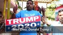 Un fan indien de Trump procède à un rite hindou avant la visite du président américain