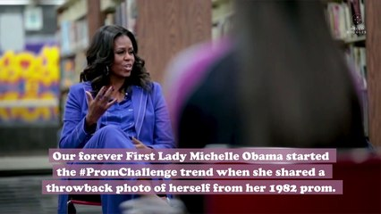 Celebrities joined Michelle Obama's #PromChallenge and shared their throwback photos for a good cause
