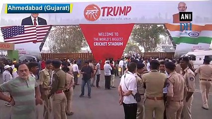 Motera Stadium all decked up to welcome President Trump