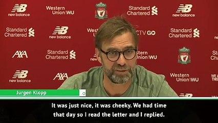 Klopp enjoyed replying to 'cheeky' Man United fan letter