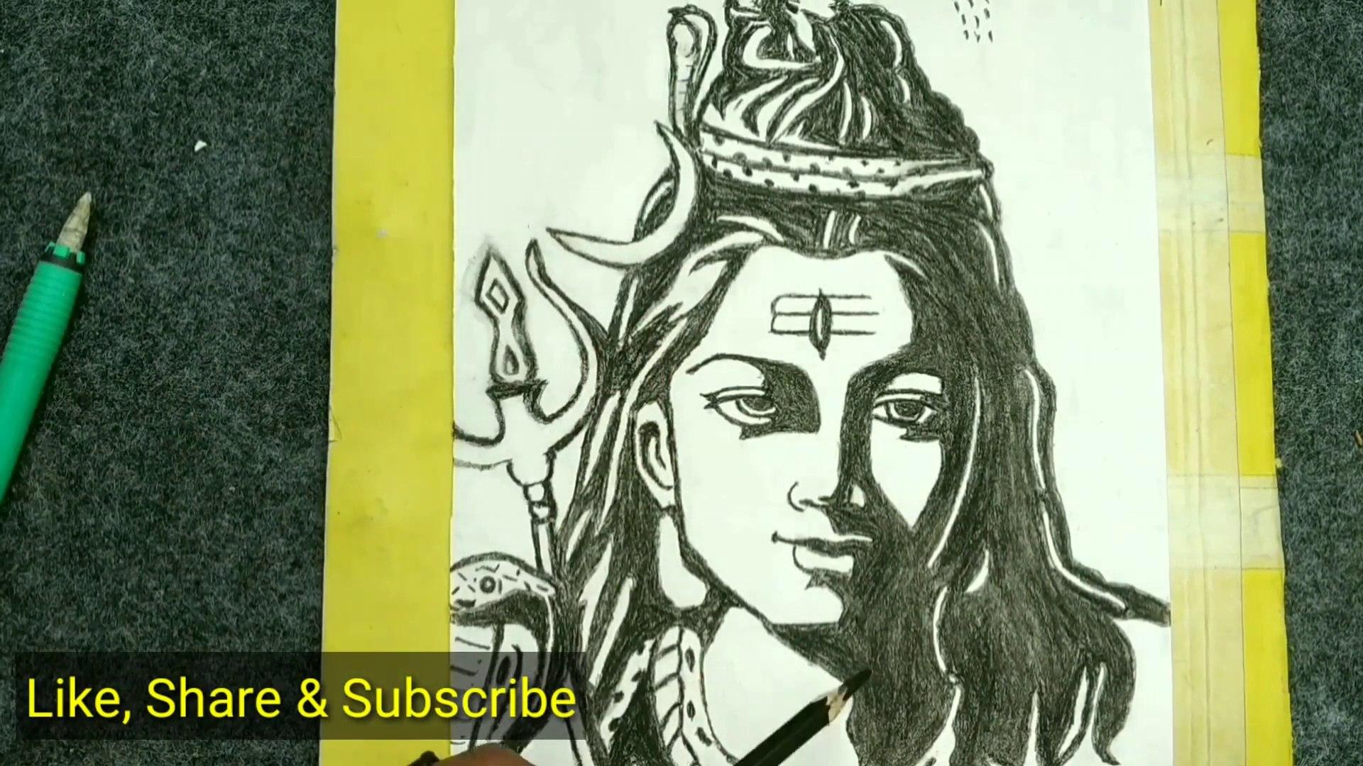 How To Draw Mahadev Sketch Lord Shiva Drawing Mahadev Sketch