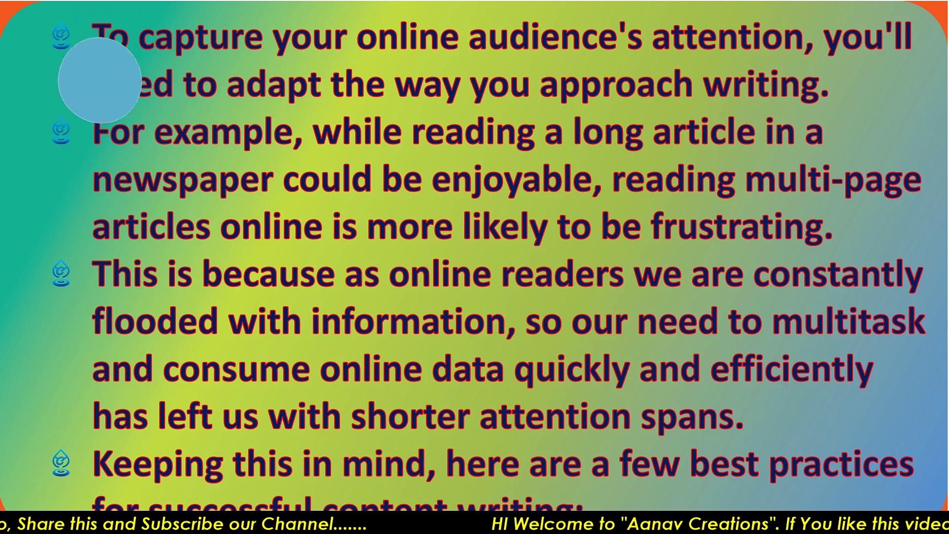 Writing for online audiences In Digital Marketing   Online Audience    @Aanav Creations   @Technical Maanav