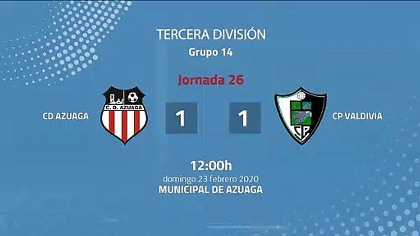 Resumen partido entre CD Azuaga y CP Valdivia Jornada 26 Tercera División