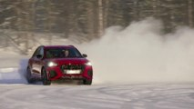 The new Audi RS Q3 in Tango Red Driving on ice