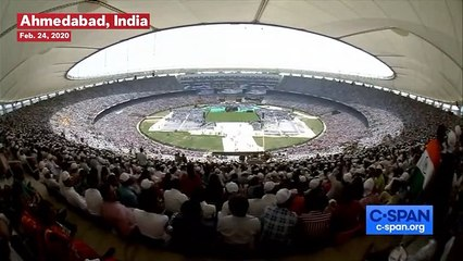 Watch: President Donald Trump Enters Stadium In India To 'Macho Man' Song