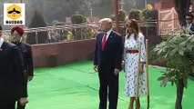 US President Donald Trump and First Lady Melania Trump Plant A Tree At Raj Ghat