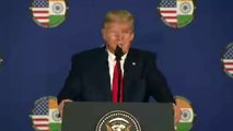 US President Donald Trump interacts with media in a Press Conference in India