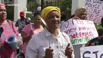 Female activists in Cape Town protest that the budget isn't 'drawn up with females in mind'