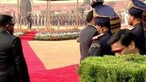 Cérémonie de bienvenue du président américain Donald Trump à Rashtrapati Bhavan