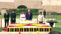 Le président américain Donald Trump et la première dame Melania Trump visitent Rajghat