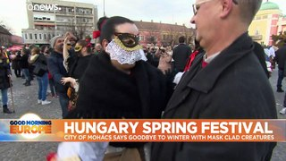Hungarians say goodbye to winter with bizarre and scary costume festival