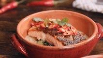 Green Thai Curry with Pan Seared Verlasso Salmon