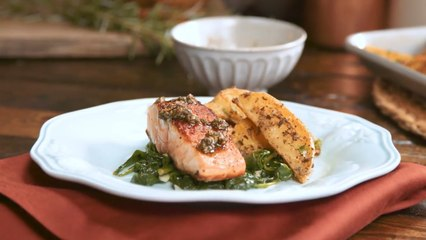 Chimichurri Pan Seared Salmon – Crispy Potatoes, Sautéed Garlic Spinach