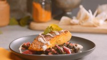 Rumi Spice Cumin Rubbed Pan Seared Salmon - Turmeric Swiss Chard, Tahini Cream Sauce