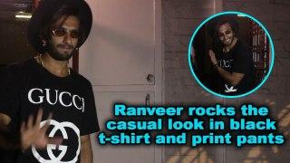 Ranveer rocks the casual look in black t-shirt and print pants