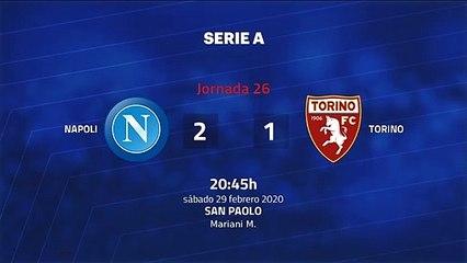 Resumen partido entre Napoli y Torino Jornada 26 Serie A
