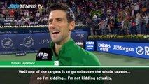 Djokovic jokes about unbeaten season following Dubai success