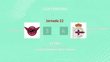 Resumen partido entre CD Tacón Fem y Deportivo Abanca Fem Jornada 22 Primera División Femenina