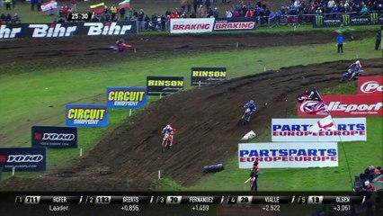 Jago Geerts vs Rene Hofer & Geerts crash - MXGP of Great Britain 2020 Race 2 - motocross