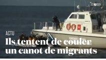 Des gardes-côtes grecs tentent de couler un canot pneumatique de migrants