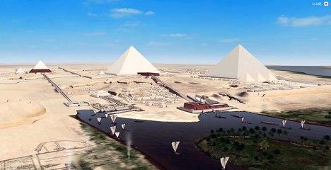 Recreación 3D de las pirámides en la llanura de Giza, Egipto.