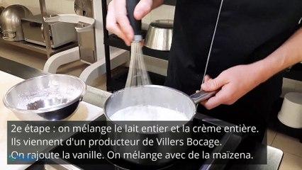 Le pâtissier Alban Guilmet de Caen, réalise sa recette de flan à la vanille.
