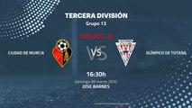 Previa partido entre Ciudad de Murcia y Olímpico De Totana Jornada 28 Tercera División