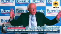 Senator Bernie Sanders Speaks To Press Ahead Of Detroit Rally
