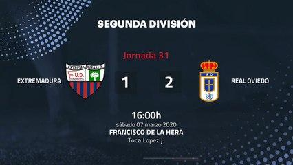 Resumen partido entre Extremadura y Real Oviedo Jornada 31 Segunda División