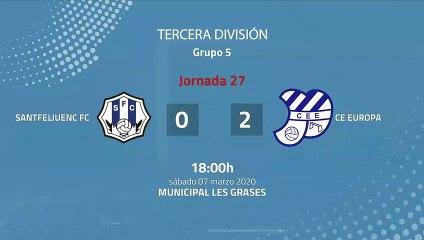 Resumen partido entre Santfeliuenc FC y CE Europa Jornada 27 Tercera División