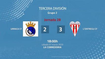 Resumen partido entre Urraca CF y L´Entregu CF Jornada 28 Tercera División