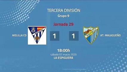 Resumen partido entre Melilla CD y At. Malagueño Jornada 29 Tercera División